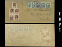 USA HAWAII 1857 NEW BEDFORD COVER WITH 5¢ ON 13¢, VERY RARE  COPY