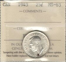 1943 Twenty-Five Cents ICCS Graded MS-63 Beautiful WWII George VI Canada Quarter