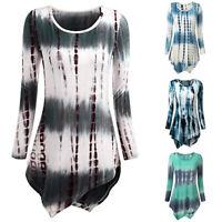 Fashion Women Loose O-Neck Printed Long Sleeve Loose Tops Tunic Shirt Blouse
