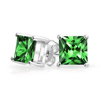 1CT Green Square Princess Cut CZ Stud Earrings Sterling Silver Simulated Emerald