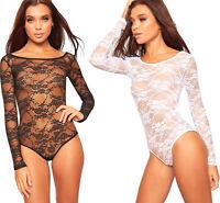 Womens Floral Lace Scoop Neck Long Sleeve Bodysuit Ladies Leotard Top Sheer