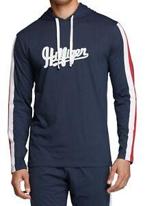 Tommy Hilfiger Mens Sleepwear Blue Medium M Varsity Sleeve Stripe Hoodie $59 045