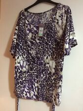 NEW BHS Sophie Grey Purple & Beige Animal Print Top Size 20