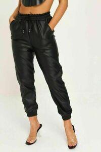 Women Wet Look PU PVC Shiny Faux Leather Look Tie upTrouser Pant Joggers UK 8-16