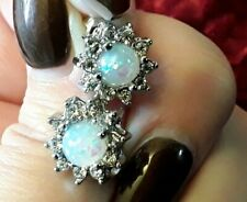 925 Sterling Silver Faux White Opal & Cubic Zirconia