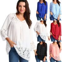 Ladies Women Summer Loose Casual Chiffon Long Sleeve Lace T Shirt Tops Blouse