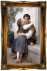 Bouguereau A Little Coaxing Calinerie Wood Framed Canvas Print Repro 19x32