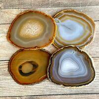 """Set of 4 Natural Agate Slice Coaster Set: 3.8 - 4.1"""" Long Quartz Crystal"""