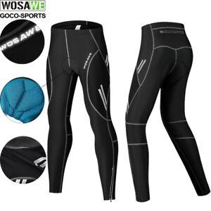 Men's Cycling Long Pants Compression Padded Bike Black Pants Tights Reflective