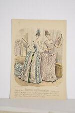 Gravure ancienne Mode Féminine XIX° Journal des Demoiselles 2 Robes du Soir