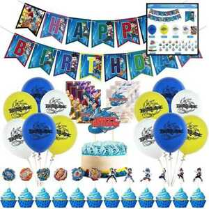 Beyblade Birthday Party Supplies Include Banner Cake Topper Balloons Invitations