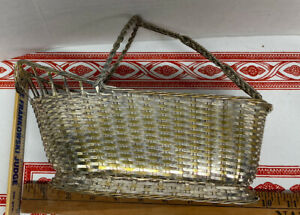 Vintage Christofle France Silver Plate Hand Woven Wine Bottle Basket Caddy