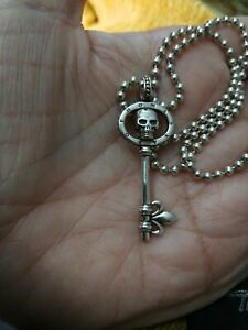Thomas Sabo REBEL AT HEART 3D Skull Key Pendant & TS Silver Ball Necklace Chain