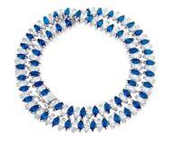 """31Ct Brilliant Sapphire & Diamond 14k White Gold Over Tennis 16"""" Estate Necklace"""