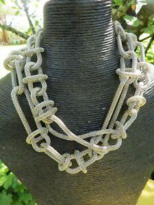 Silver Tone Linked Hoops Snake ,Modernist Necklace
