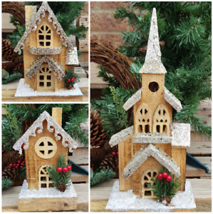 Christmas LED Rustic Wooden House Pre Lit Wood Christmas House Church 3 Designs