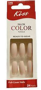 Kiss SALON COLOR Long Length Shiny Nude Full Cover Coffin Style Nails DGK07