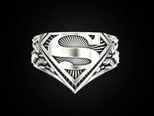 925 Sterling Silver Handmade Superman Style Men's Ring All Sizes