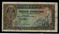 Billete de España 5 pesetas 1940 G 2462408  DAÑADO DESPERFECTOS