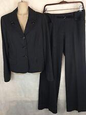 Ann Taylor Loft Charcoal Pant Suit Size 4/6 Cuffed Pants 3 Button Blazer Jacket