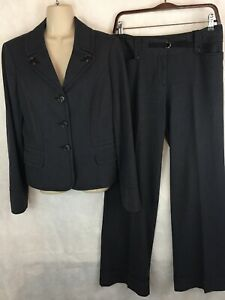 Ann Taylor Loft Charcoal Pant Suit Size 4/6 Cuffed Pants 3 Button Blazer Jacket