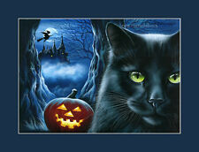 Black Cat Halloween Print Enchanted Castle from an original by I Garmashova