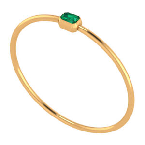 14k Yellow Gold on 925 Sterling Silver Bangle Bracelet Green Emerald Fine Jewel