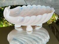 "Cambridge Crown Tuscan Pattern Dots Pink Milk Glass Scallop Shell 8.5"" Oval Bowl"