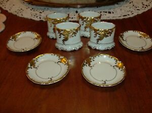 Antique KMP Porcelain Butter Dishes and Napkin Holders Set of Four