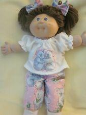 CPK doll clothes//16-18 inch//handmade green//orange plaid overalls//t-shirt//cap