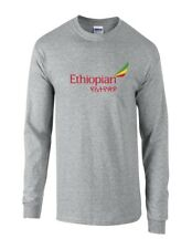Ethiopian Airlines Red Green Yellow Logo Sport Gray Cotton Long Sleeve T-shirt