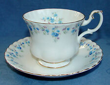 VINTAGE ROYAL ALBERT CHINA TEACUP & SAUCER SET ~ MEMORY LANE ~ BLUE FLORAL