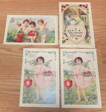 Lot of 4 MCMXCII Vintage Valentine's Day Cherub / Cupid / Angel Post Cards *READ