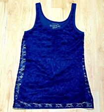Handmade Navy Blue Lace Summer Sleeveles Narrow Strap Top Size 8 Atmosphere Sexy