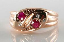 9K 9CT ROSE GOLD INDIAN RUBY & DIAMOND DOUBLE SNAKE ART DECO INS RING FREE SIZE
