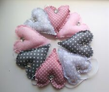 padded hanging hearts garland bunting dusky rose pink grey bedroom home decor