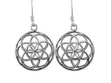 925 Sterling Silver Flower of Life Sacred Geometry Spiritual Dangle Earrings Set