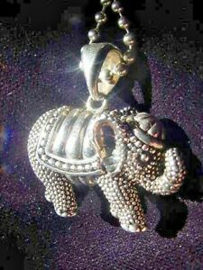 Lagos Sterling Silver Rare Wonders Elephant Necklace,w,Caviar Chain,Lucky Charm