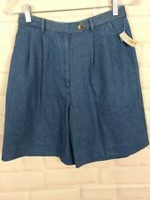 Talbot's High Waisted Pleated Front  blue Shorts Denim 8p NWT