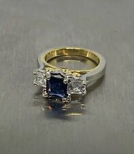 Silver Plated Copper Princess Blue Sapphire Ring Clear Cubic Zirconia Size 8