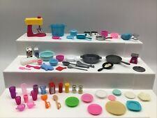 Barbie Doll Cooking Lot Mixer Pots Pans Cups Condiments Utensils Plates Bowls