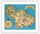 Hawaii Island Map MAUI - White - 1941 Vintage Travel Poster Fine Art Print