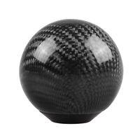 Round Ball Shape Black Carbon Fiber Universal Car Gear Shift Knob W/ Adapter