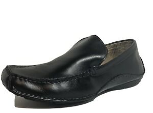 Steve Madden Novo Black Leather Slip On Driving Moccasin Loafers Mens Shoes 9.5