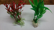 red and green Artificial Plastic Plant Aquarium  Fish Tank Ornament uk x 2 plant