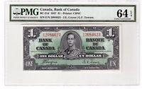 Canada $1 Dollar Banknote 1937 BC-21d PMG Choice UNC 64 EPQ