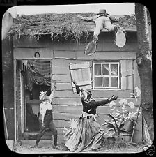 Glass Magic Lantern Slide MAN WITH GIANT SHOES ON ROOF C1890 PHOTO