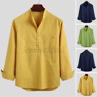 Mens Long Sleeve Linen Cotton Henley Blouse Hippy Beach Holiday Shirt Top Tee US