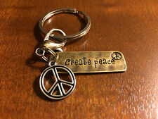 CREATE PEACE Brass Charm Keyring Keychain or Bag Charm w/ Peace Sign Gift
