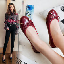 Bowknot Large Flats Ballet Round Toe Maroon Soft Mom Shoes Walking Women Big Sz